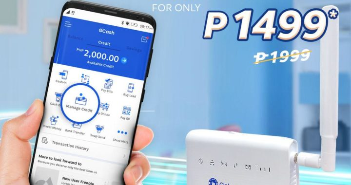 Get your Globe at Home Prepaid WiFi with NO CASH-OUT via GCredit from GCash
